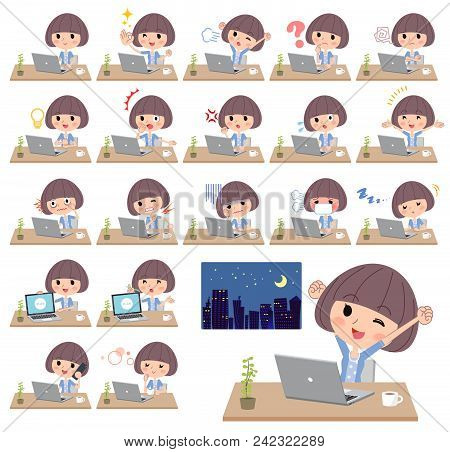 Set Of Various Poses Of Mash Hair Blue Cardigan Women_desk Work