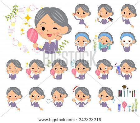 Set Of Various Poses Of Purple Clothes Grandmother_beauty