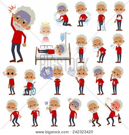 Set Of Various Poses Of Red High Neck Old Man Black_sickness