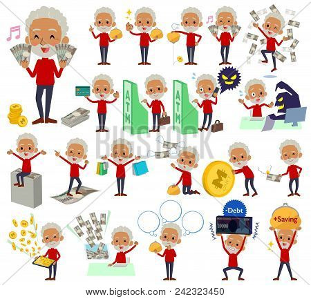 Set Of Various Poses Of Red High Neck Old Man Black_money