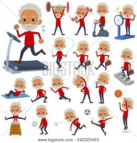 Set Of Various Poses Of Red High Neck Old Man Black_sports & Exercise