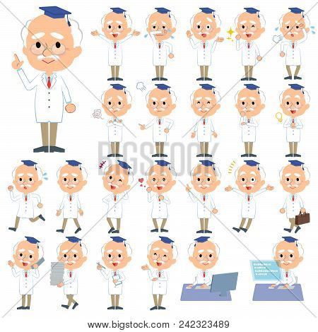 Set Of Various Poses Of Research Doctor Old Men_1