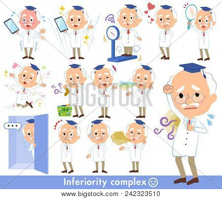 Set Of Various Poses Of Research Doctor Old Men_complex