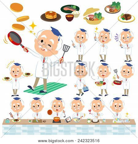 Set Of Various Poses Of Research Doctor Old Men_cooking