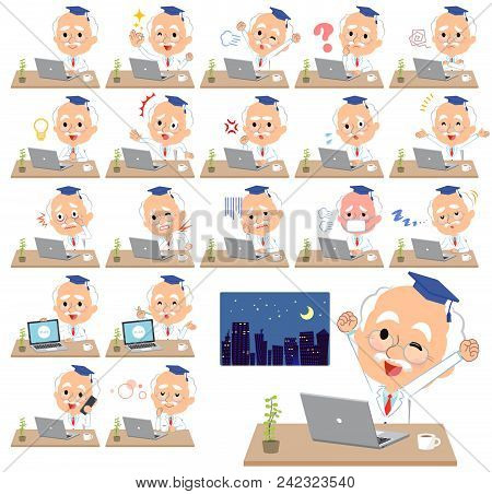 Set Of Various Poses Of Research Doctor Old Men_desk Work