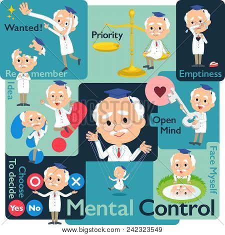 Set Of Various Poses Of Research Doctor Old Men_mental & Volition