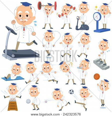 Set Of Various Poses Of Research Doctor Old Men_sports & Exercise