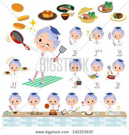 Set Of Various Poses Of Research Doctor Old Women_cooking