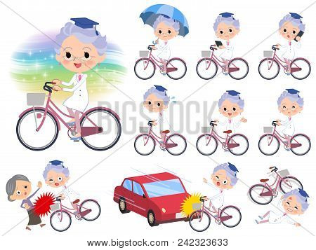 Set Of Various Poses Of Research Doctor Old Women_city Bicycle