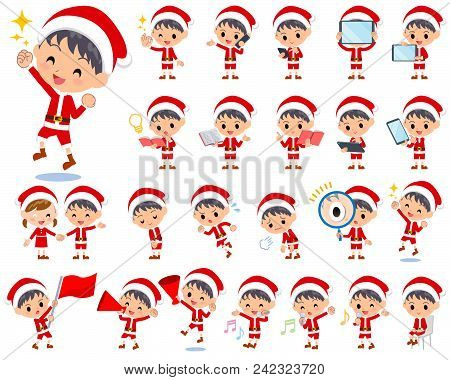 Set Of Various Poses Of Santa Claus Costume Boy_2
