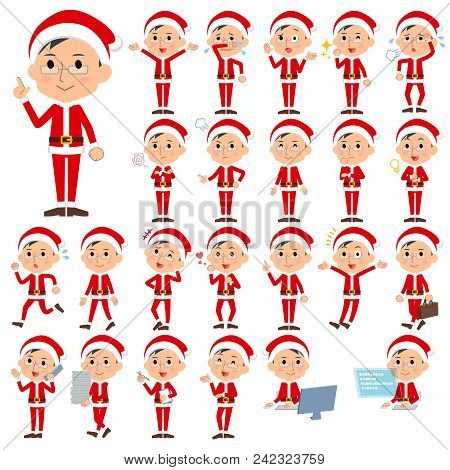 Set Of Various Poses Of Santa Claus Costume Dad_1