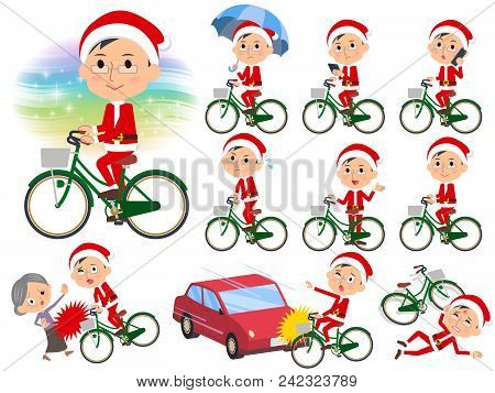 Set Of Various Poses Of Santa Claus Costume Dad_city Bicycle