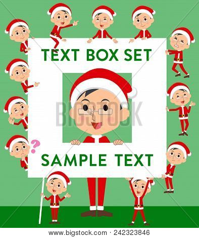 Set Of Various Poses Of Santa Claus Costume Dad_text Box