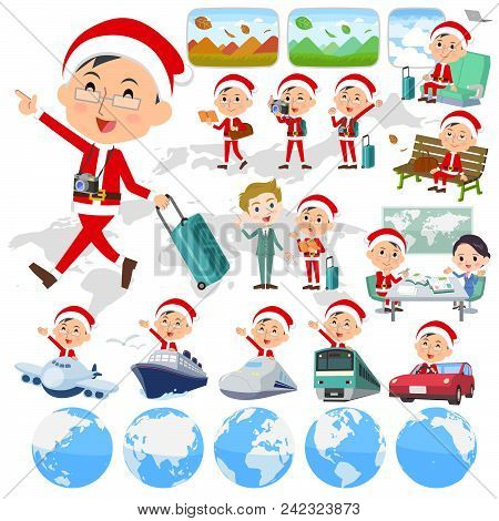Set Of Various Poses Of Santa Claus Costume Dad_travel