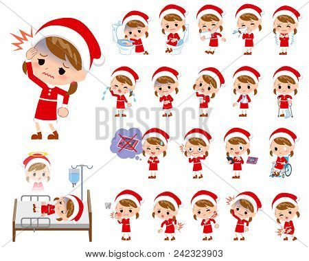 Set Of Various Poses Of Santa Claus Costume Girl_sickness