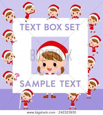 Set Of Various Poses Of Santa Claus Costume Girl_text Box