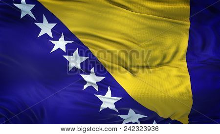 Bih Realistic 3d Waving Flag With Highly Detailed Fabric Texture In 4k Resolution.