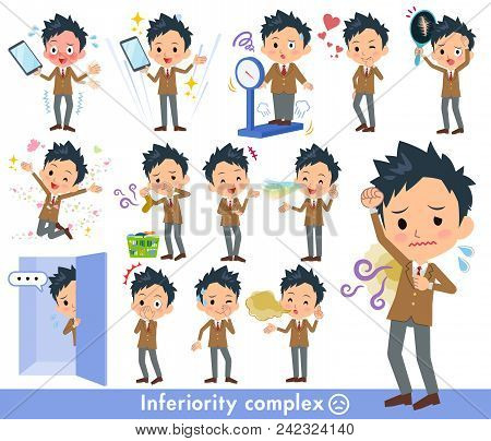Set Of Various Poses Of School Boy Brown Blazer_complex