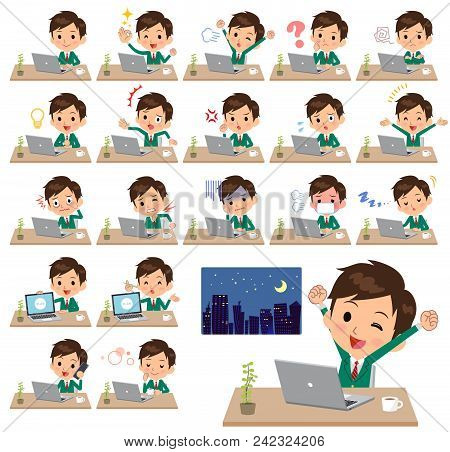 Set Of Various Poses Of School Boy Green Blazer_desk Work