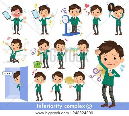 Set Of Various Poses Of School Boy Green Blazer_complex