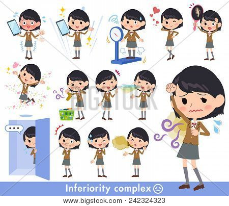 Set Of Various Poses Of School Girl Brown Blazer_complex