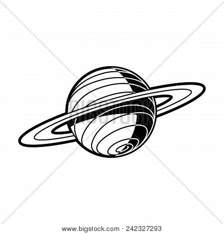 Planet Saturn with rings - celestial body of solar system isolated on white background. Black and white outer space astronomy object. Vector illustration of cosmos element. poster