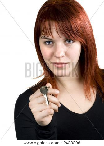 Cute Redhead Giving Real Estate Key