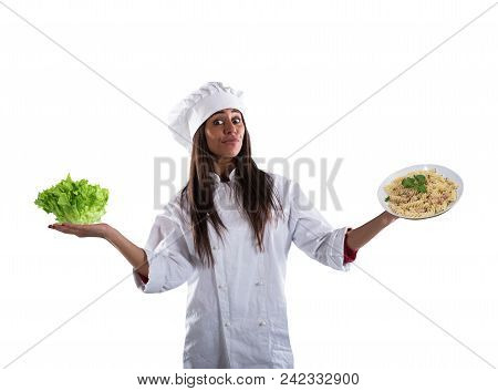 Chef Undecided To Eat Between Fresh Salad Or Pasta Dish