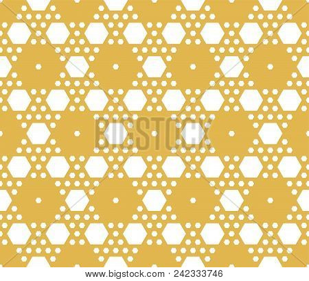 Vector Geometric Seamless Pattern. Ornament With Small Yellow Hexagons, Hexagonal Grid, Lattice, Mes