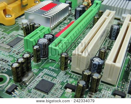 Pci Slots And Components On Computer Motherboard Royalty Free Stock Photo