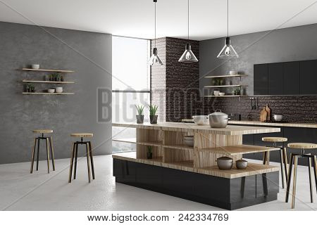New Bright Loft Kitchen Interior With Furniture, Appliances And Daylight. Design And Style Concept.