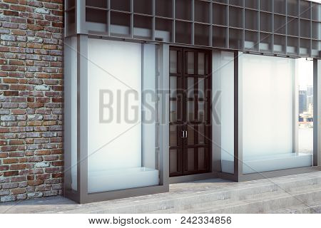 Modern Glass Storefront With Blank Banner. Retail And Commerce Concept. Mock Up, 3d Rendering