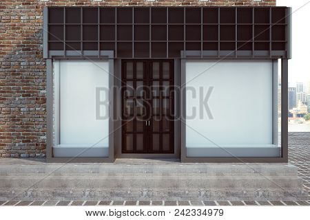 Modern Glass Storefront With Empty Poster. Retail And Commerce Concept. Mock Up, 3d Rendering