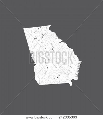 U.s. States - Map Of Georgia. Hand Made. Rivers And Lakes Are Shown. Please Look At My Other Images