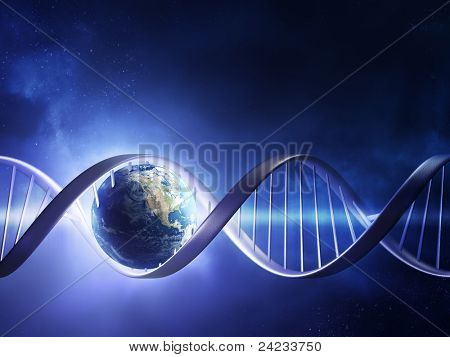 Abstract render of earth inside a glowing DNA strand ( earth uv map from http://visibleearth.nasa.gov )