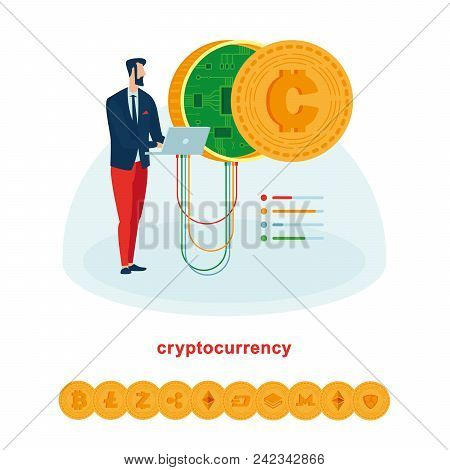 Mining And Works With Cryptocurrencies Such As Bitcoin And Ethereum. Image Suitable For Illustration