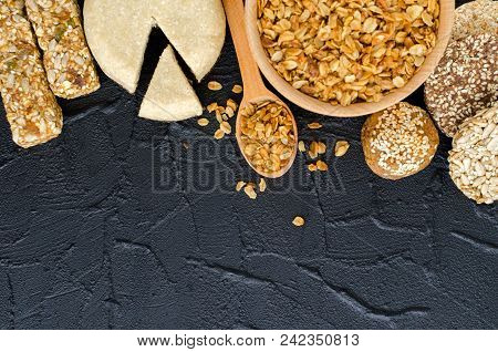 Healthy Snacks. Fitness Food. Sesame Halva. Bowl And Spoon With Oat Flakes, Mint. Granola Bars With