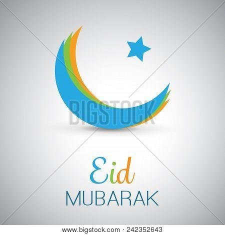 Eid Mubarak - Moon In The Sky - Greeting Card Design For Muslim Community Festival