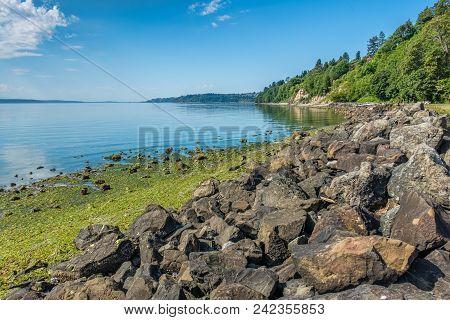 A Landscape Shot Of A Rocky Shoreline At Saltwater State Park In Des Moines, Washington.