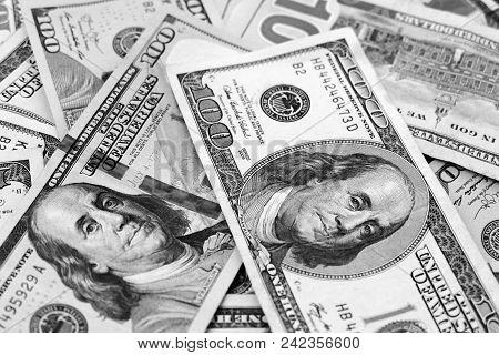 World And Usa Dollars,old Usa Banknote Hundred Dollars And New Banknote Hundred Dollars