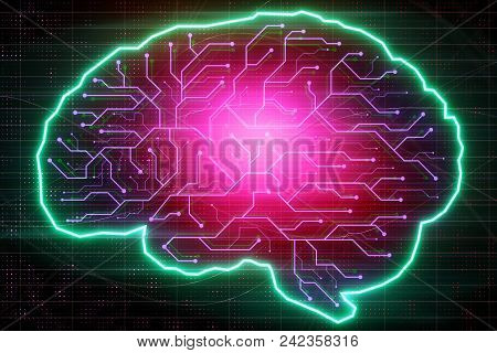 Abstract Glowing Colorful Digital Brain With Circuit Backdrop. Ai And Technology Concept. 3d Renderi