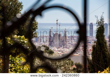 Barcelona - March, 2018: Church Of The Sacred Family And Barcelona City Seen From Park Guell