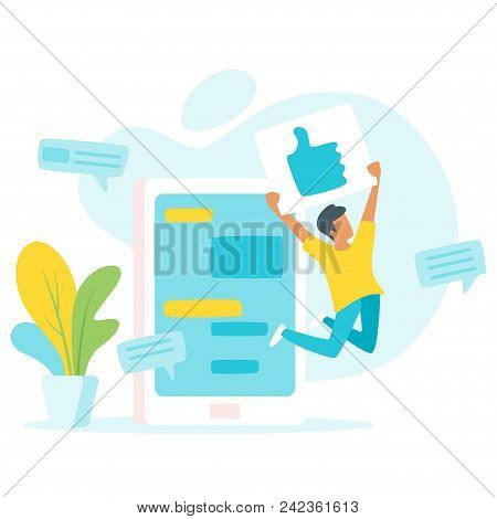 Vector Flat Style Illustration Of A Man Jumping For Joy And Holding A Thumbs Up Sign (like In Social