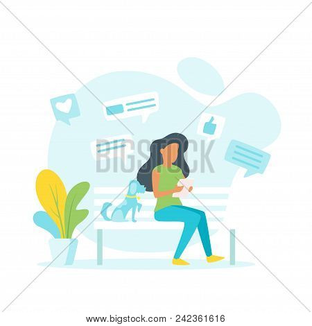Vector Illustration Of A Woman Making Online Shopping And Sitting Outdoor On The Bench. Chat Windows