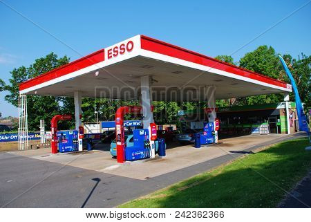 ST. LEONARDS-ON-SEA, ENGLAND - MAY 23, 2018: Exterior of an Esso petrol filling station. Founded in 1912 in the USA, the name is an acronym of Eastern States Standard Oil.