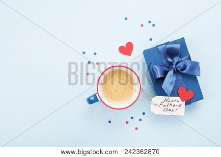 Holiday Breakfast On Happy Fathers Day With Coffee, Gift Box And Heart On Table Top View. Flat Lay.