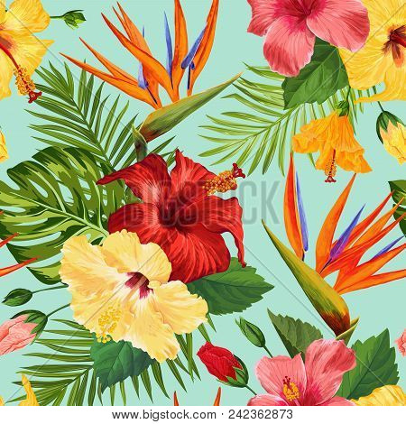 Watercolor Tropical Flowers Seamless Pattern. Floral Hand Drawn Background. Exotic Blooming Flowers