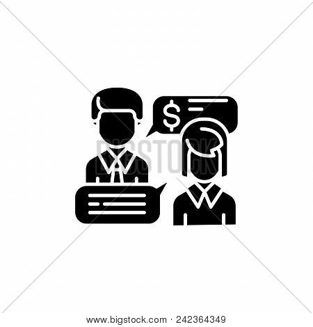 Business Negotiations Black Icon Concept. Business Negotiations Flat  Vector Website Sign, Symbol, I