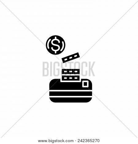 Cash Its Equivalents Black Icon Concept. Cash Its Equivalents Flat Vector Website Sign, Symbol, Illu