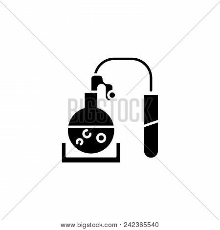 Chemical Reaction Black Icon Concept. Chemical Reaction Flat  Vector Website Sign, Symbol, Illustrat